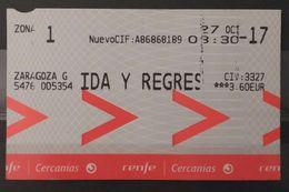ESPAÑA. RENFE. BILLETE DE IDA Y VUELTA. CERCANÍAS ZARAGOZA - UTEBO. - Trenes