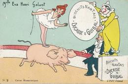Carte Publicitaire Biscuits Nantais Ducasse & Guibal Mademoiselle Eva Henri Golant Au Cirque Sur Un Cochon - Clowns - Advertising