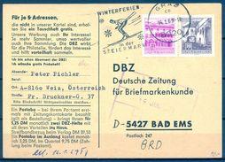1969 AUSTRIA , TARJETA POSTAL COMERCIAL  CIRCULADA ENTRE GRAZ Y BAD EMS , WINTERFERIEN , ESQUI , SKI - 1945-.... 2ème République