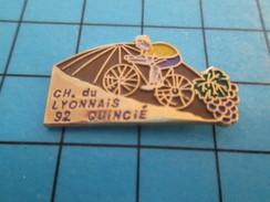 Pin713H Pin's Pins : BEAU ET RARE : SPORTS / CYCLISME CHAMPIONNAT DU LYONNAIS 92 QUINCIE GRAPPE DE RAISIN - Radsport