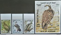HX27- Jordan 2003 Complete Set 3v. + S/S MNH - Birds Of Prey, Eagle, Falcon - Jordanie