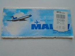AV108.3 Hungary  MALÉV Airlines  Ticket Budapest  Lrakfurt Lisbon Zürich Ca 1980-90's - Transportation Tickets