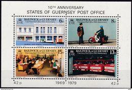 Guernsey, 1979, 195/98 Block 2, 10 Jahre Unabhängige Postverwaltung. 10 Years Post Office. MNH ** ( - Post
