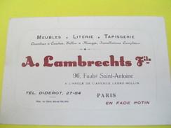 Carte  Commerciale/Meubles Literie Tapisserie/ A  LAMBRECHTS Fils / Fbg ST Antoine/Paris /Vers 1920-1930   CAC44 - Francia