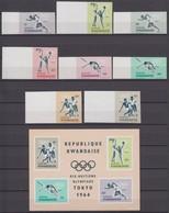 Rwanda 08.12.1964 IMPERF Mi # 77-84В Bl 2В Tokyo Summer Olympics, MNH OG, MARGINS - Sommer 1964: Tokio