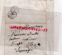 49- SAUMUR- 87-LIMOGES- LETTRE A TOURNIER MAITRE RELIEUR RUE DU TEMPLE- CACHET PARIS A BORDEAUX 1855- - 1853-1860 Napoléon III