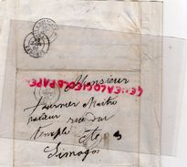 49- SAUMUR- 87-LIMOGES- LETTRE A TOURNIER MAITRE RELIEUR RUE DU TEMPLE- CACHET PARIS A BORDEAUX 1855- - Marcophilie (Lettres)