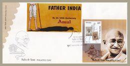 India Combination FDC Philately Day 2013 With AMUL Gandhi Lathi ( Stick ) Sticker, Gandhi - Father India - Mahatma Gandhi