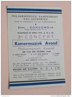 """KAMERMUZIEK Avond Philharmonisch Kamerorkest Van Antwerpen Zaal """" CONCORDIA """" Anno 1941 ( Zie Foto's Voor Detail ) ! - Programma's"""