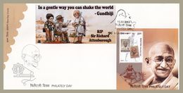 India Combination FDC Philately Day 2013 With AMUL Sticker Gandhi Film Director Richard Attenborough , Charkha, Cinema - Mahatma Gandhi