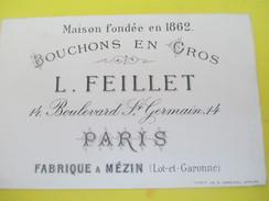 Carte  Commerciale/Bouchons En Gros / L Feillet / Bd Saint Germain/Paris/ MEZIN / Lot Et Garonne/1887   CAC60 - Petits Métiers