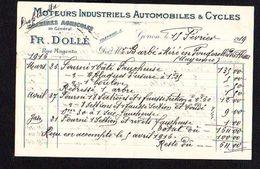 1919 Facture Moteurs Industriels Automobiles,Cycles Et  Machines Agricoles Chez Fr. Dollé à Gorron 53 - France