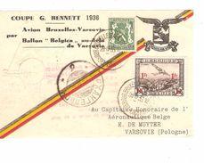TP 425-TPA 6 S/Document Coupe Bennett 1936 Par Ballon C.BXL Aéroport 28/8/36 Pour Varsovie PR4829 - Storia Postale