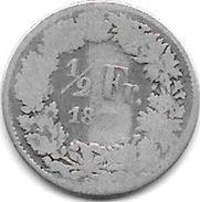 *switzerland 1/2 Franc 1875   Km 23  Vg+ - Suisse