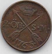 SUEDE - 2 Ore  1763 - Suède