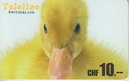 SWITZERLAND - PHONE CARD  ***   PRÉPAID CARD - TELELINE & CANARD  *** - Hühnervögel & Fasanen