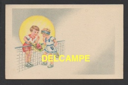 DF / CARTE D' ILLUSTRATEUR / DESSIN / GARÇON ET FILLETTE AU TENNIS - 1900-1949