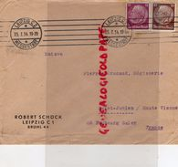 ALLEMAGNE-LEIPZIG-MESSASTADT-ENVELOPPE ROBERT SCHUCK- BRUHL 44- 1934- PERUCAUD MEGISSERIE SAINT JUNIEN - 1900 – 1949