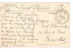 CP Dinard En SM écrite De Bruges Par 1 Militaire C.Fortune Agence Oostende 24/12/1918 V.BXL PR4833 - Postmark Collection