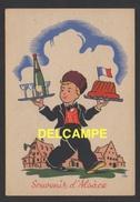 DD / CARTE D' ILLUSTRATEUR / PETIT ALSACIEN EN COSTUME TRADITIONNEL FOLKLORIQUE APPORTANT VIN D'ALSACE ET KOUGELHOPF - Illustrators & Photographers