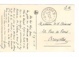 CP Oostende Maalboat C.Fortune Agence Oostende 12 29/12/1918 V.BXL PR4835 - Postmark Collection