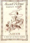 "PARFUM ARYS - ""SECRET D' ARYS"" - CARTE PARFUMEE ANCIENNE . - Perfume Cards"
