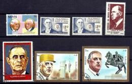 LOT 7 TIMBRES GENERAL DE GAULLE- DENTELÉS ET NON DENTELÉS- NEUFS ET OBLITÉRÉS PAYS DIVERS- - De Gaulle (General)