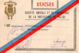 VP11.264 - MILITARIA - PARIS - Carte De La Société Amicale & Prévoyance De La Préfecture De Police - Police & Gendarmerie