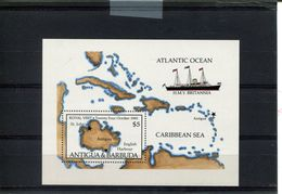 482760489 1985  ** MNH YVERT BF100 SCHEPEN KAART MAP - Antigua Et Barbuda (1981-...)