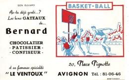 Buvard Basket-Ball  Les Bons Gâteaux De Bernard 20 Place Pignotte  AVIGNON - Sports