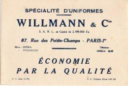 Buvard Spécialité D'uniformes Willmann Et Cie 87 Rue Des Petits Champs Paris 1er - Blotters