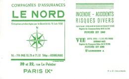 Buvard Compagnies D'Assurances LE NORD  20 Et 22 Rue Le Peletier Paris IX - Banque & Assurance