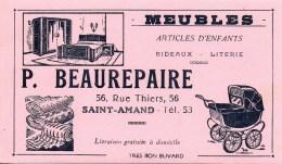 Buvard Meubles P.Beaurepaire 56 Rue Thiers à Saint-Amand (rose) - Buvards, Protège-cahiers Illustrés
