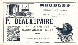 Buvard Meubles P.Beaurepaire 56 Rue Thiers à Saint-Amand (blanc) - Buvards, Protège-cahiers Illustrés