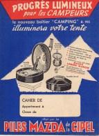 """Protège-cahiers PILES MAZDA De La CIPEL Nouveau Boîter """"Camping"""" - Book Covers"""