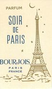 "PARFUM BOURJOIS - ""SOIR DE PARIS"" - CARTE PARFUMEE ANCIENNE . - Perfume Cards"