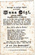 Sterbebildchen Von ANNA VIGL Geb. Pichler - Arganistens - Gattin In Kastelruth 1843 - 1875 Untervintl - Religion &  Esoterik