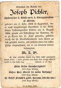 Sterbebildchen Von JOSEPH PICHLER Geb. 2. Februar In Eggenthal Gest. 5. August 1884 Student In Meran - Religion &  Esoterik