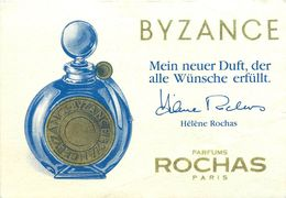 "PARFUM  ROCHAS - ""BYSANCE"" -  CARTE PARFUMEE ALLEMANDE ANCIENNE - TB ** . - Perfume Cards"