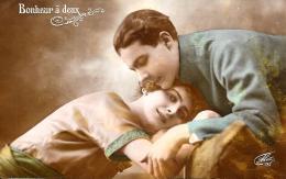 [DC11015] CPA - BONHEUR A DEUX - COPPIA FELICITA' - Non Viaggiata 1919 - Old Postcard - Coppie