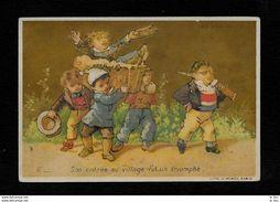 Chromo AU BON MARCHE' Mongolfiera ''son Entrée Au Village...'' 1896 - LITH J. MINOT - PERFETTA - Cromos