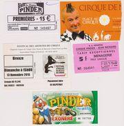 Lot 5 Tickets Collector Cirque Pinder, Festival, Noël Sur Dax, Pau Et Mt De Marsan Années > 2010 - Biglietti D'ingresso