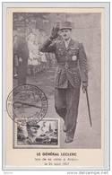 Le Général Leclerc Lors De Sa Visite à Antony Le 24 Août 1947 - FDC - Carte Postale Maximum 1948 - Maximum Card - Tank - 1940-49