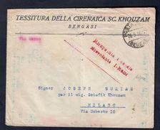 Busta Da Bengasi A Milano Con Timbro Recuperata Incendio Idrovolante  I-RODI Firmata Caffaz Rara Bu.100 - 1900-44 Vittorio Emanuele III