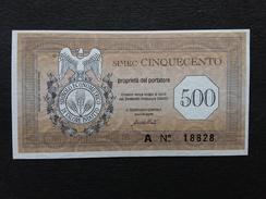 Biglietto Da Simec 500 FDS Carta Filigranata Non Comune + Spese Postali - [10] Cheques Y Mini-cheques
