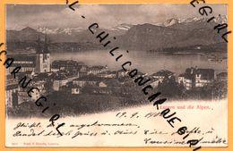 LUZERN - LUCERNE Und Die Alpen - Habitation - Timbre Rouge 10 1875/1900 Jubilé De L'Union Universelle - PRELL & EBERIE - LU Lucerne