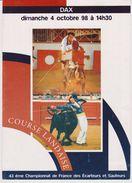 Programme Et Feuille Comptable Championnat De France De Courses Landaise Dax 04/10/98 - Programas