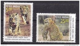 INDIA, 2016, Tadoba-Andhari-National Park, Tiger,Tigers, Fauna Cub, Set 2 V, MNH, (**) - Felini