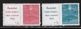 Indonesia 1963 Erupting Volcano Surtax For National Disasters MNH - Indonésie