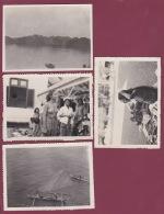 301017 - 4 PHOTOS ANNÉES 1930 - ASIE - à Situer Barque Pêche Seins Nus - Cartes Postales